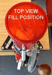 Turret press top view fill position